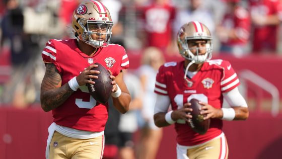 """Kyle Shanahan: Jimmy Garoppolo, Trey Lance are """"competing their ass off"""""""